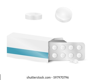 Template realistic white blank paper medicine package box with tablets isolated on white background. Vector mockup drugs.
