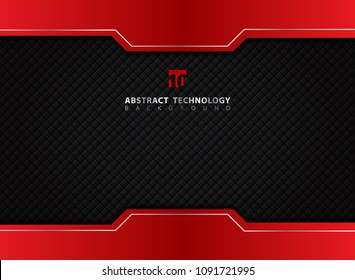 Template red and black contrast abstract technology background. Vector illustration