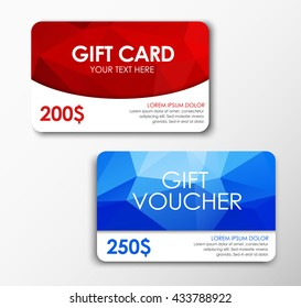 Template red gift card, blue  voucher. Design polygonal style. Set. Vector illustration.
