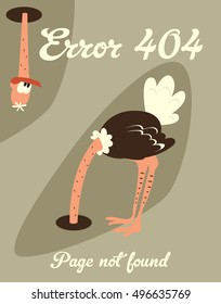Template Reports with Page Not Found Message. Error 404 Designed with Ostrich Burying His Head In The Sand Vector Illustration