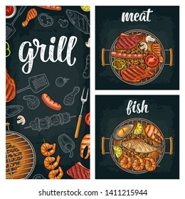 Template restaurant or cafe bbq menu. Grill calligraphic handwriting lettering. Shrimp, tomato, pepper, sausage, chicken leg, beef and fish steak. Color vector vintage engraving illustration on dark