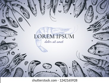 Template of restaurant menu with different seafood:lobster, crab, dorado, tuna, shrimp,codfish, mackerel, oyster, mussel, tuna, salmon and anchovy. Vector.Gradient fill. Hand-drawn. Isolated on white.