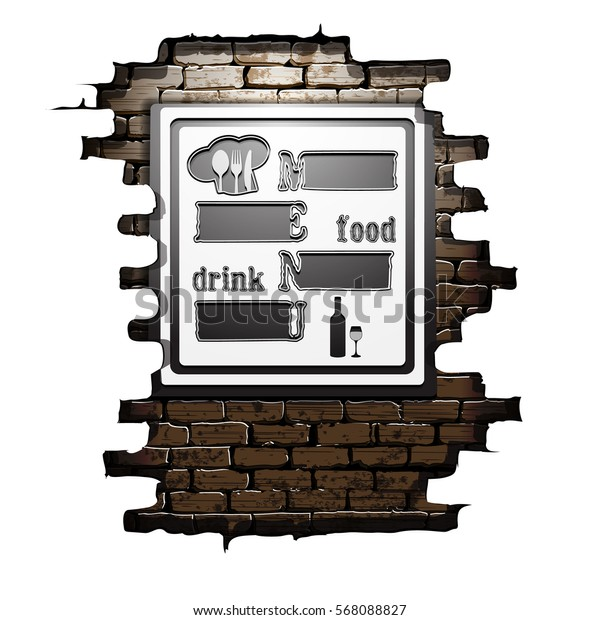 Template restaurant menu food and drink in the doorway of an old brick wall. The isolated image on a white background can be used with any text or background.