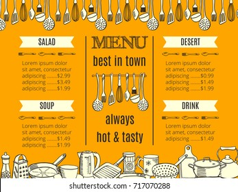 template restaurant menu with kitchenware and cutlery. Vector illustration