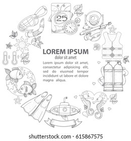 A template with a round frame and a place for text with outline illustrations on the theme of the sea and tourism.