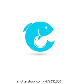 Template of round logo with fish. Creative vector symbol of fishing club or online shop. Icon isolated on white background.