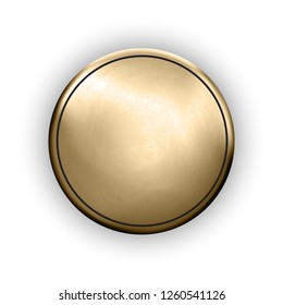 Template of round metallic disk or button with golden texture isolated on white background. Metal rough textured material. Realistic trophy object. Vector illustration. Gold medal mockup.