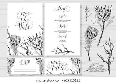 Template rustic wedding invitations and design elements. Save the date. Menu. Your table. RSVP. Calligraphy and hand-drawn flowers protea.