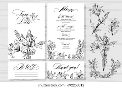 Template rustic wedding invitations and design elements. Save the date. Menu. Thank you! RSVP. Calligraphy and hand-drawn flowers lilies.