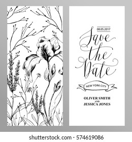 Template rustic wedding invitations.  Save the date. Calligraphy and hand-drawn flowers.