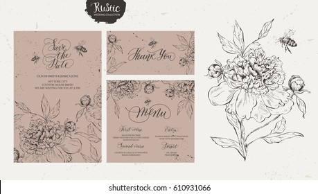 Template rustic wedding invitations. Save the date. Menu. Thank you. Calligraphy and hand-drawn flowers.