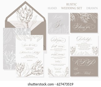 Template rustic wedding invitations. Save the date. Menu. Thank you. Your table. RSVP. Calligraphy and hand-drawn flowers.