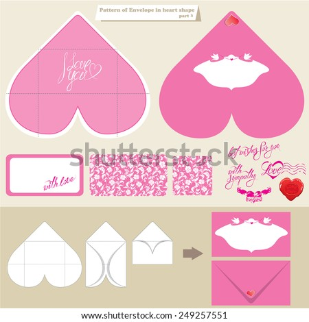 template scheme envelope heart shape pink stock vector royalty free