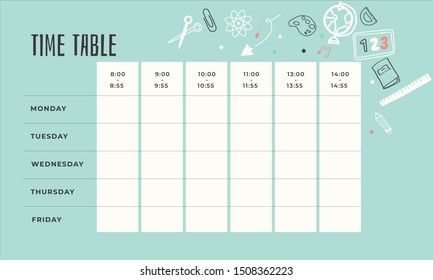 Template school timetable with days of week and free spaces for notes. Illustration includes many hand drawn elements of school supplies / stationary. Vector Illustration