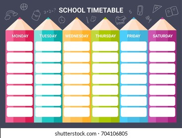 Template school timetable.  Illustration includes hand drawn elements of school supplies