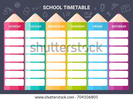 Template School Timetable Illustration Includes Hand Stock ...