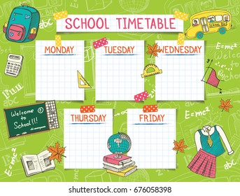 School timetable images stock photos vectors shutterstock template school timetable for students or pupils vector illustration includes many hand drawn elements of maxwellsz