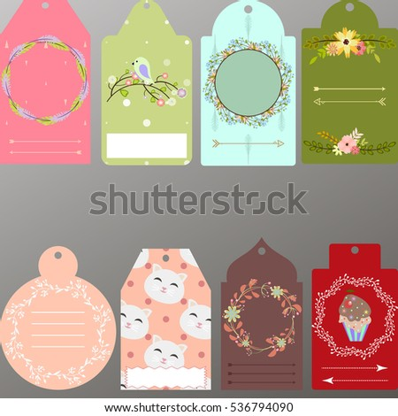 Template Scrapbookcards Notes Tags Cute Different Stock Vector
