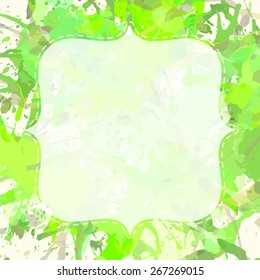 Template with semi-transparent white vintage frame over pastel green artistic paint splashes, ready for your text.
