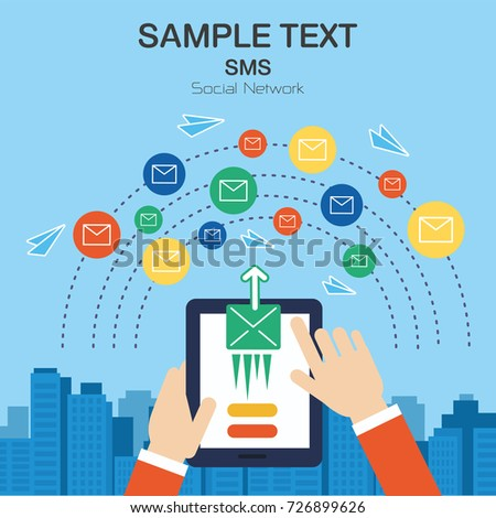 Template Send Message Social Network Elements Stock Vector (Royalty
