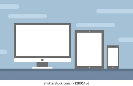 Template Set of All Screen Device Preview for Website Preview in Flat Design Vector Illustration isolated in blue background