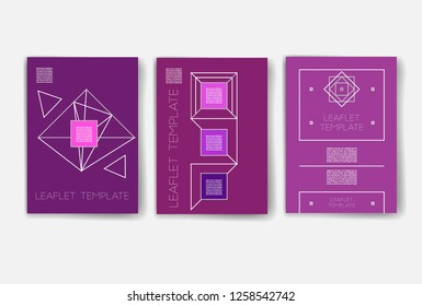 Template. Set of creative cards with geometric hipster icons. Trendy hipster logotypes. Polygonal icons. Templates. Design Set of Web, Mail, Brochures, Flyer, Technology, and Infographic Concept.