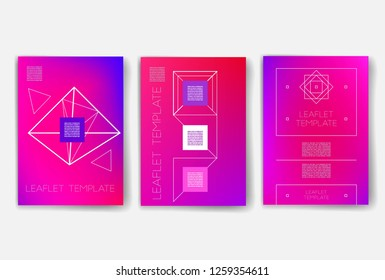 Template. Set of creative cards with geometric hipster icons. Trendy hipster logotypes. Polygonal icons. Templates. Design Set of Web, Mail, Brochures, Flyer, Technology, and Infographic Concept