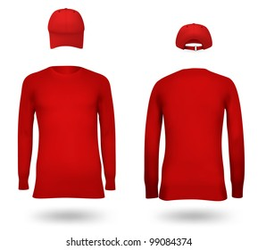 Template set: long sleeve blank jersey and a cap.