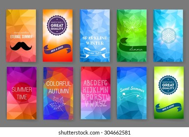 Template. Set of poster, flyer, brochure design templates. Elements for Summer Holidays with colorful background.  Vector brochure design templates collection. Applications and Infographic Concept.