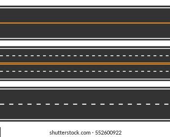 Template set of straight asphalt roads. Seamless road background. Vector EPS 10