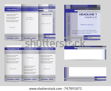 template set trifold brochure layout square stock vector royalty