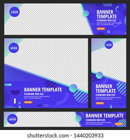 Template set of web banners standard size wuth a place for images. Design abstract geometric background bright and gradient show with transparent sample. Horizon, Vertical mockup. Vector illustrate.