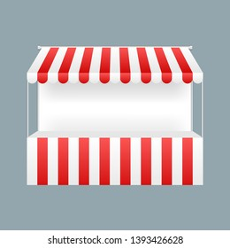 Template shopping stand with red and white striped awning, mock up. Vector illustration.