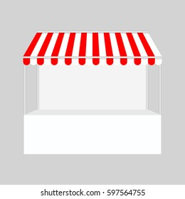 Template shopping stand with red and white striped awning, mock up vector illustration