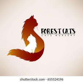 Template of the sign with the cat. Advertisement for Animal rescue, veterinary, shop. Pets Logo