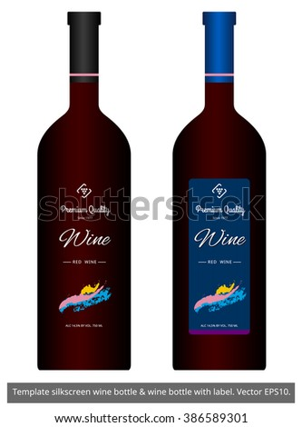 Wine Bottle Template | Template Silkscreen Wine Bottle Wine Bottle Stock Vector Royalty