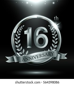 Template silver logo 16th anniversary with ring and laurel branches on dark background