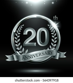 Template silver logo 20th anniversary with ring and laurel branches on dark background