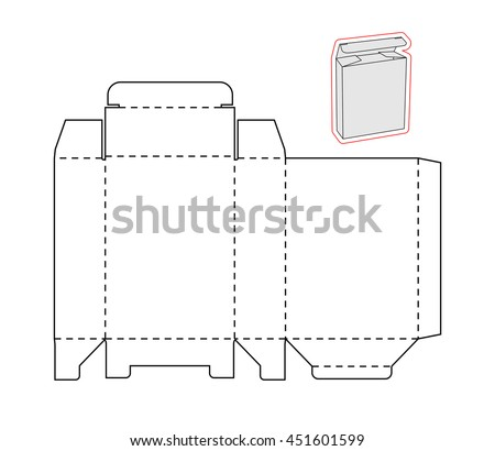 template simple box cut out paper stock vector royalty free