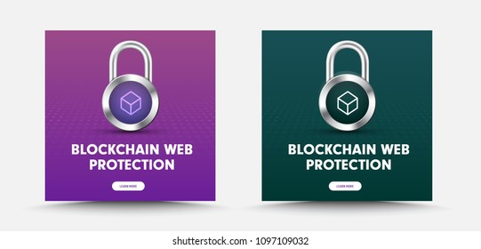 template for social media banners with padlock and a lockbox icon for information protection. Design for the web. Set. Vector illustration