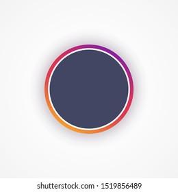 Template social media instagram icon avatar frame. Mockup dark circle with colorful frame for photo. Blank logo. Vector illustration. EPS 10