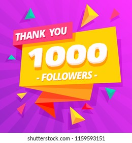 Template for social network post. Thank you followers post 1000.