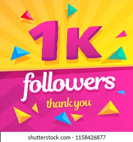 Template for social network. Thank you followers post 1k.