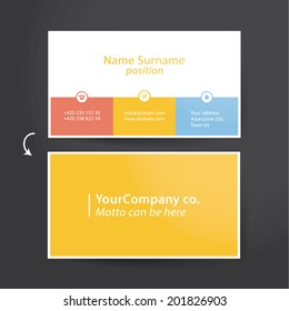 Template for solid business card. Minimalistic flat design for personal card. Easy to adjust.