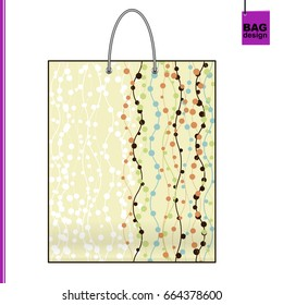 Template souvenir gift shopping Bag with individual design: an abstract background of colorful chains of circles.