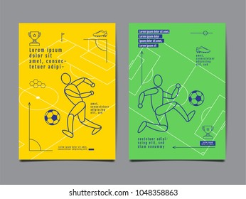 Template Sport Layout Design, Flat Design, single line,  Graphic Illustration, Football, Soccer, Vector Illustration.