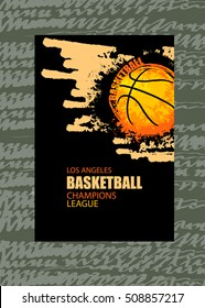 Template for sports games. Vector illustration with grunge ball. EPS file is layered.