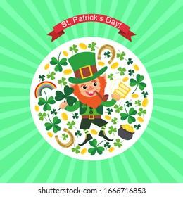Template for St. Patrick's Day greeting card. Saint Patrick day pot full gold coins rainbow treasure. Cartoon leprechauns.