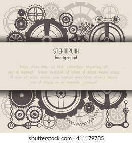 Template with steam punk cogs background and place for text