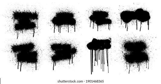 Template Stencil graffiti spray, isolated on white background. Vector spray paint shapes with smudges and drops. Graffiti template with black splashes with flowing lines of paint. Vector spray set